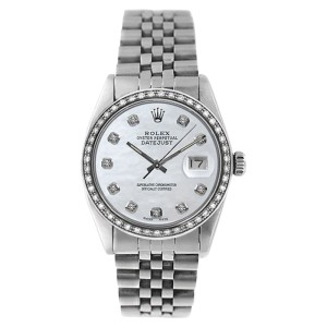 Rolex Stainless Steel Datejust 16234 MOP Diamond Dial Watch