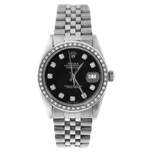 Rolex Datejust 16234 Stainless Steel Black 1ct Diamond Dial & Bezel Mens Watch