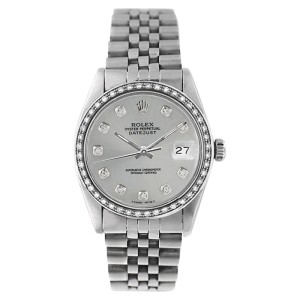 Rolex Datejust 16234 Stainless Steel Silver 1ct Diamond Dial & Bezel Mens Watch