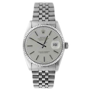 Rolex Datejust 16234 Stainless Steel Silver Stick Dial 18K Gold Fluted Bezel Mens Watch