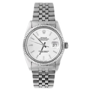 Rolex Datejust 16234 Stainless Steel White Stick Dial 18K Gold Fluted Bezel Mens Watch