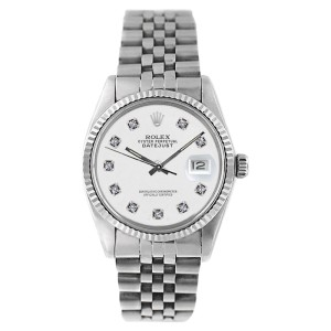 Rolex Datejust 16234 Stainless Steel White Diamond Dial 18K Gold Fluted Bezel Mens Watch