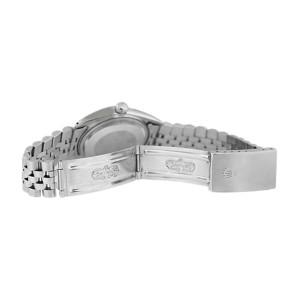 Rolex Datejust 16234 Stainless Steel White Diamond Dial 18K Gold Fluted Bezel Mens Watch