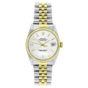 Rolex Datejust 16233 Stainless Steel & Gold White Stick Dial Mens Watch