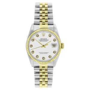 Rolex Datejust 16233 Stainless Steel & Gold White Diamond Dial Mens Watch