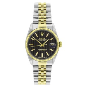Rolex Datejust 16233 Stainless Steel & Gold Black Tapistry Stick Dial 18K Gold Bezel Mens Watch