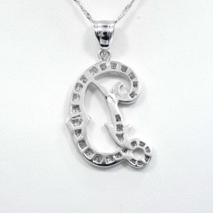 Initial D Cursive 14K White Diamonds Pendant