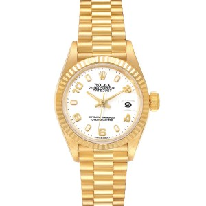 Rolex President Datejust 26 Yellow Gold White Dial Ladies Watch 69178