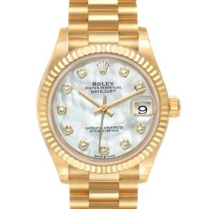 Rolex President Midsize Yellow Gold Diamond Ladies Watch 278278 Unworn
