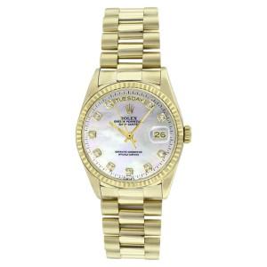 Rolex Solid 18K Gold President 18038 MOP Diamond Dial Quickset Mens Watch