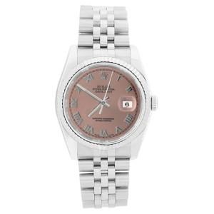 Rolex Datejust 116234 Stainless Steel 18K Gold Bezel Salmon Roman Dial Watch