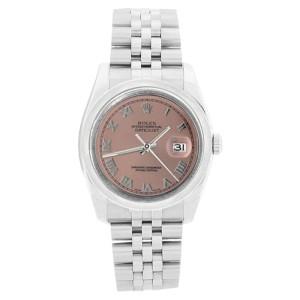 Rolex 116200 Jubilee Stainless Steel Datejust Salmon Roman Dial Mens Watch