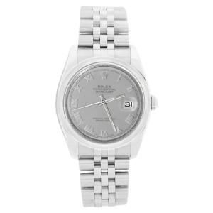 Rolex Datejust 116200 Jubilee Stainless Steel Silver Roman Dial Stainelss Steel Bezel Mens Watch