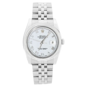 Rolex Datejust 116200 Jubilee Stainless Steel White Roman Dial Mens Watch
