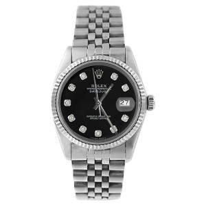 Rolex 16014 Datejust Stainless Steel Black Diamond Dial Mens Watch