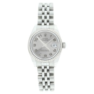 Rolex Datejust 179174 Stainless Steel Silver Con Arabic Dial 18K Gold Bezel Womens Watch