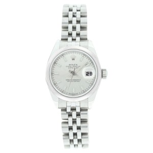 Rolex Datejust 179160 Stainless Steel Style Silver Stick Dial Smooth Bezel Womens Watch