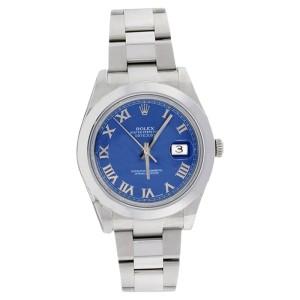 Rolex Datejust II 116300 Stainless Steel Blue Roman Smooth Bezel Mens Watch