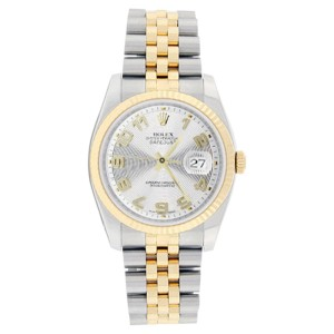 Rolex Mens Stainless Steel & 18K Gold Datejust 116233 Silver Concentric Arabic Dial Watch
