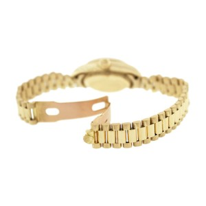 Rolex President 69178 18K Gold Champagne Tapistry Stick Dial Fluted Bezel Womens Watch