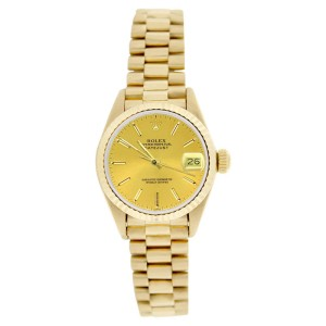 Rolex President 69178 18K Gold Champagne Stick Dial Fluted Bezel Womens Watch