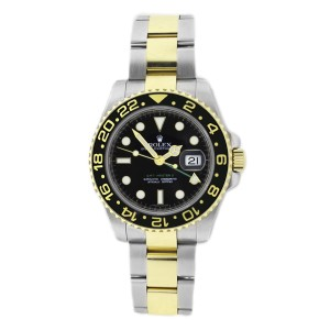 Rolex GMT Master ll 116713 Stainless Steel & 18K Gold Ceramic Bezel Black Dial Mens Watch