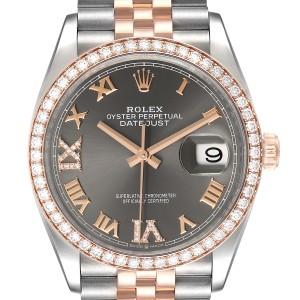 Rolex Datejust 36 Steel Rose Gold Diamond Unisex Watch