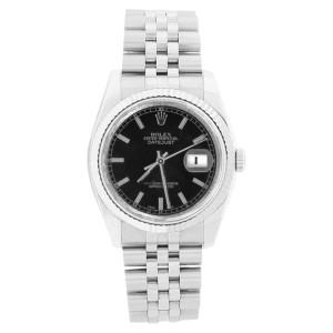 Rolex 116234 Datejust Stainless Steel Black Stick Dial Mens Watch
