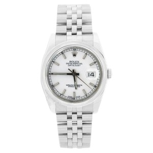 Rolex Jubilee Datejust 116200 White Stick Dial Stainless Steel Bezel Mens Watch