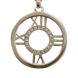 Tiffany & Co. Atlas 18K White Gold Diamond Circular Pendant Necklace