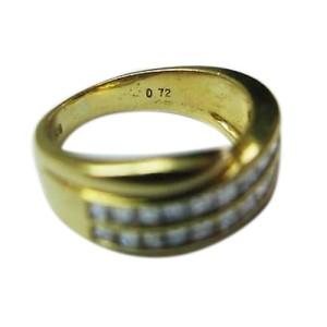 Cartier 18K Yellow Gold Asscher Cut 2-Row Diamond Anniversary Ring