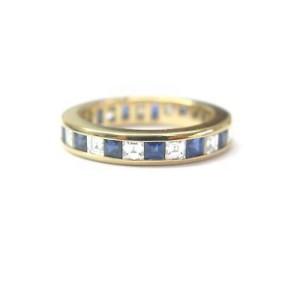 Tiffany & Co. 18K Yellow Gold Sapphire Diamond Band Ring