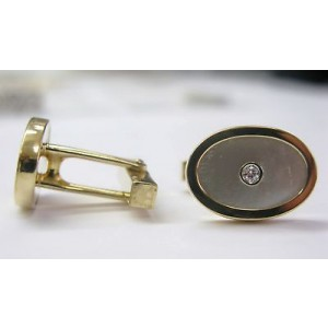 Tiffany & Co. 18K Yellow Gold Mother of Pearl Diamond Cufflinks