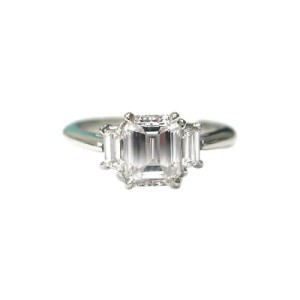Tiffany & Co. PT950 Platinum with 1.93ct Emerald Trapeze Diamond Ring Size 6