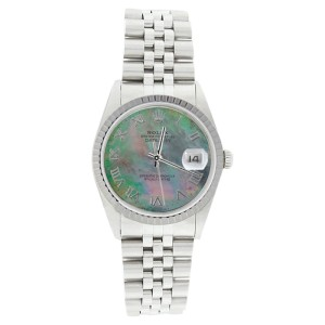 Rolex Datejust 16220 Stainless Steel Tahitian Mother Of Pearl Roman Dial Engine Turn Bezel Watch