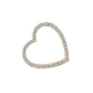 14K Yellow Gold Heart Diamond Love Pendant