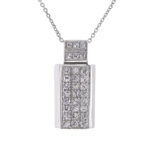 14K White Gold Stimulated Diamond Pendant Necklace