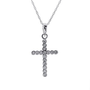 14K White Gold Channel Diamond Cross Pendant Necklace