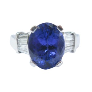 18K White Gold Gem Tanzanite Diamond Solitaire With Accents Ring