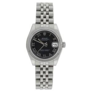 Rolex Datejust Jubilee 178274 Midsize Stainless Steel Black Roman Dial 31mm Watch