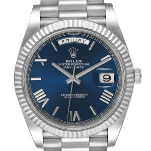 Rolex President Day-Date 40 Blue Dial White Gold Watch 228239