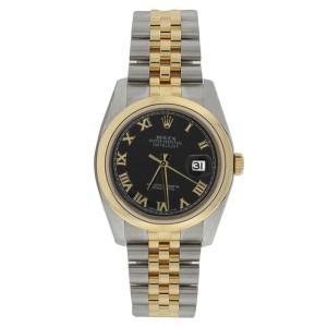 Rolex Datejust 116203 Stainless Steel & 18K Gold Black Roman Dial Mens Watch