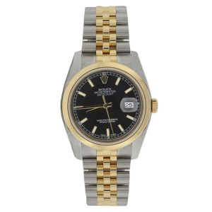 Rolex Datejust 116203 Stainless Steel & 18K Gold Black Stick Dial Mens Watch