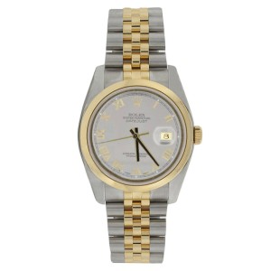 Rolex Datejust 116203 Stainless Steel & 18K Gold Silver Roman Dial Mens Watch
