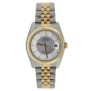 Rolex Datejust 116203 Stainless Steel & 18K Gold Silver Tuxedo Dial Mens Watch