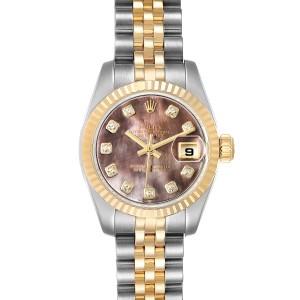 Rolex Datejust Steel Yellow Gold MOP Diamond Ladies Watch