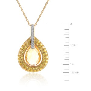 14K Yellow Gold Citrine Teardrop Dangle Pendant & Necklace