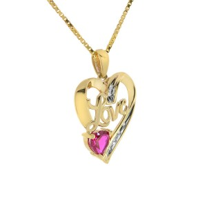 10K Yellow GoldDiamond with Ruby Love Heart Pendant