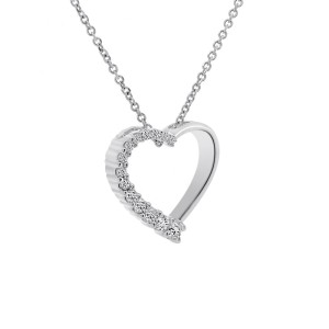 14K White Gold 0.37ct Round Brilliant Diamond Heart Pendant
