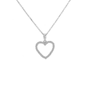 14K White Gold 0.55ct Round Cut Brilliant Diamond Heart Pendant Necklace
